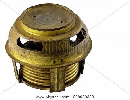 Antique Vintage American Automobile Brass Bellows Style Thermostat Assembly On A White Background