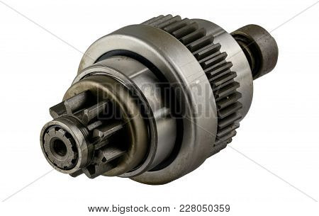 Antique Late Vintage American Automobile Starter Drive Bendix Assembly On A White Background