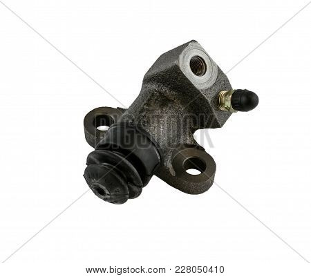 Antique Vintage American Automobile Hydraulic Clutch Slave Cylinder Assembly On A White Background