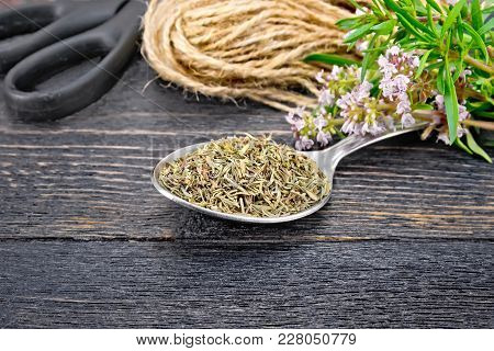 Thyme Dry In A Metal Spoon, A Bunch Of Fresh Herbs With Flowers, A Skein Of Twine And Scissors On A