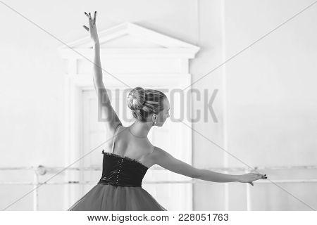 Classical Ballet Dancer Side View. Beautiful Graceful Ballerine Practice Ballet Positions In Tutu Sk