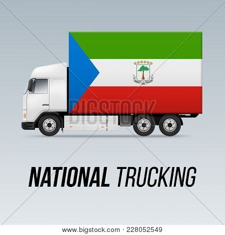 Symbol Of National Delivery Truck With Flag Of Equatorial Guinea. National Trucking Icon And Flag De