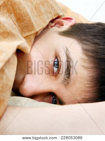 Sad Young Man Under Blanket In The Bed Closeup