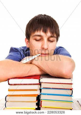 Sick Student With A Books And Thermometer In A Mouth