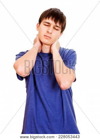 Young Man Feels Pain In The Neck Isolated On The White Background