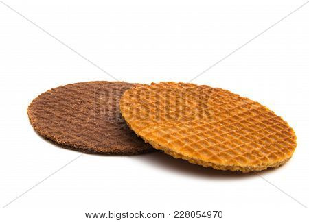 Dutch Waffles Morsel Baked Isolated On White Background