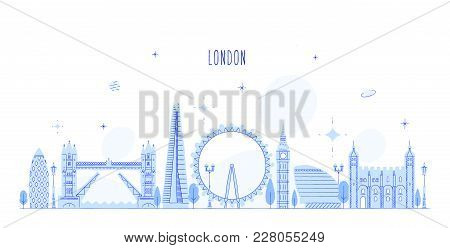 London Skyline, England, Uk. This Vector Illustration Represents The City With Its Most Notable Buil