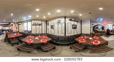 Gomel, Belarus - April 7, 2013: 360 Panorama Inside Interior Of Stylish Cafe In Vintage Style. Full