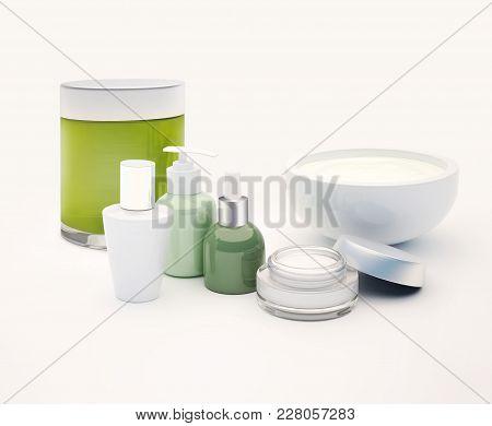 Glass Vials, Moisturizer, Serum Isolated On Light Background. 3d Illustration