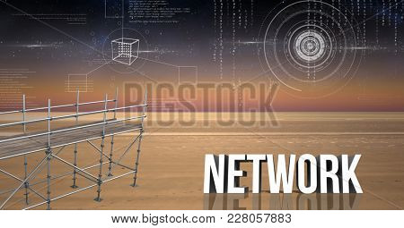 Digital composite of Network Text with 3D Scaffolding and landscape