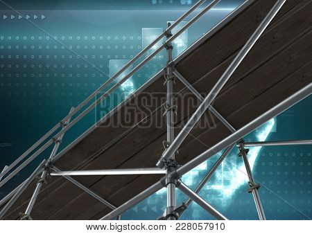 Digital composite of Digital interface with 3D Scaffolding