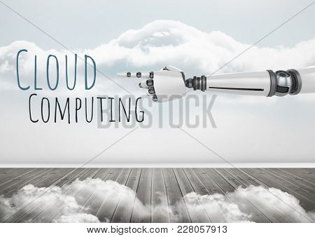 Digital composite of Android hand pointing and Cloud Computing text with clouds