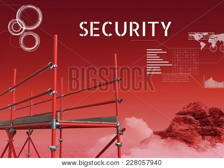 Digital composite of Security Text with 3D Scaffolding and technology interface in red landscape