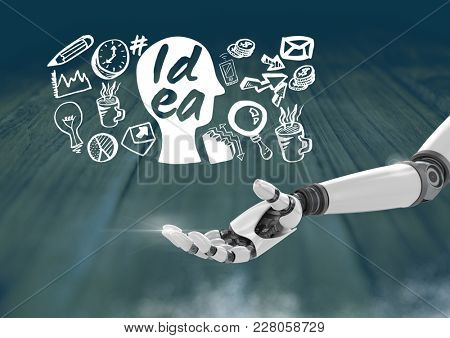Digital composite of Android hand open and Idea text with drawings graphics