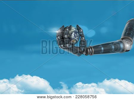 Digital composite of Android Robot hand holding planet earth with blue background