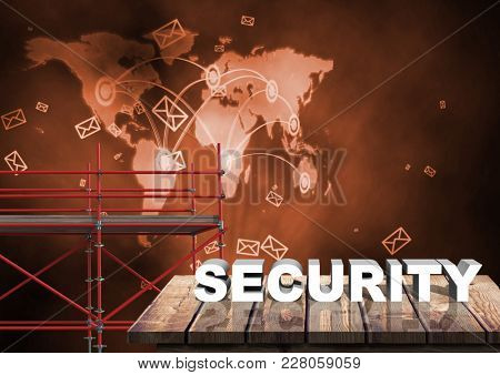 Digital composite of Security Text with 3D Scaffolding and world map interface network