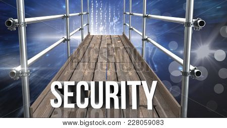 Digital composite of Security Text with 3D Scaffolding and space interface