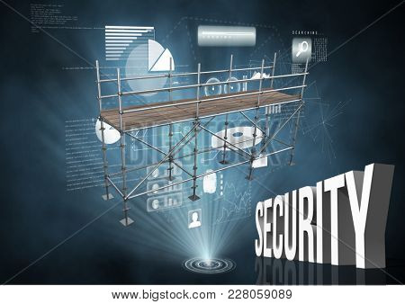 Digital composite of Security Text with 3D Scaffolding and technology interface