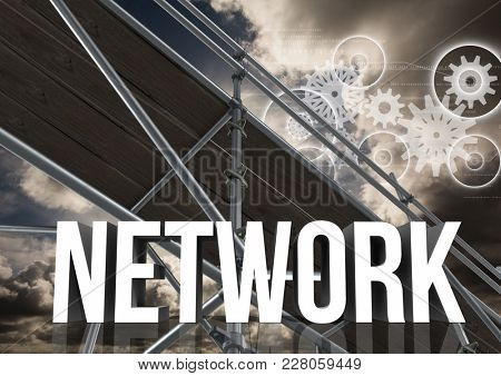 Digital composite of Network Text with 3D Scaffolding and technology interface landscape