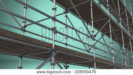 Digital composite of Composite image of scaffolding