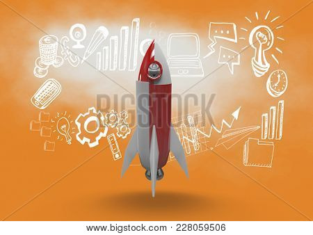 Digital composite of Composite image of rocket in 3d and drawings