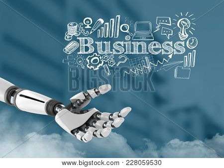 Digital composite of Android hand open over buildings and Business text with drawings graphics