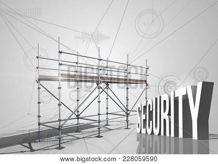 Digital composite of Security Text with 3D Scaffolding and connections