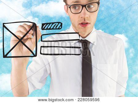 Digital composite of Business man with marker and website mock up against sky