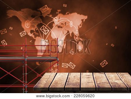 Digital composite of World Map Network with 3D Scaffolding