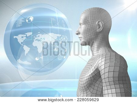 Digital composite of 3D white male AI against globe and flares