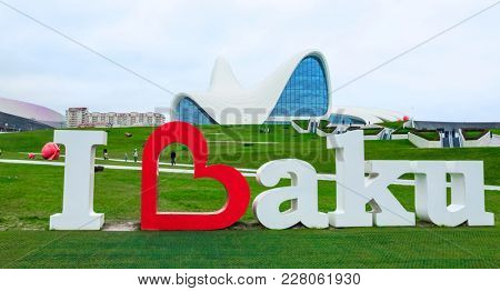 Baku, Azerbaijan - January 01, 2018: I love Baku monument in front of Heydar Aliyev Center, Baku, Azerbaijan