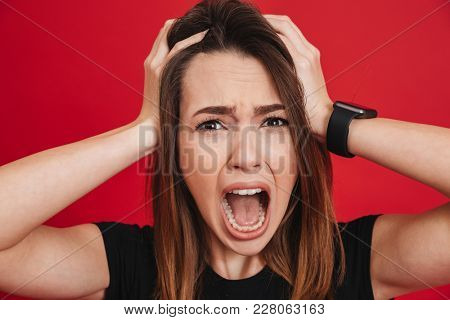 Portrait of woman in panic shouting and grabbing her head in fear or frustration isolated over red background