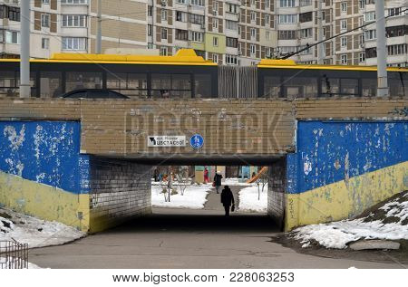 EDITORIAL. Painted in colors of ukrainian flag with incriptions against president Poroshenko underground pass in European capital.Pork - go away (UKR). No TM or logo. February 21,2018. Kiev,Ukraine