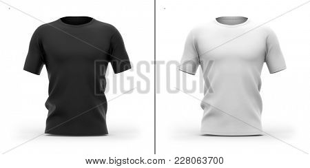 Men's crew neck t shirt with short sleeves. Front View.3d rendering. Clipping paths included: whole object, collar, sleeves. Shadows and highlights mock-up templates.