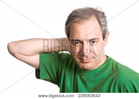 mature happy casual man portrait, isolated on white