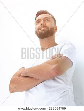 happy young man resting on a white screen