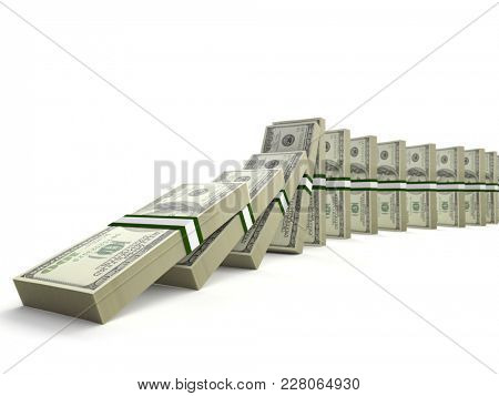 Wads of 100 dollar bills set to initiate domino effect