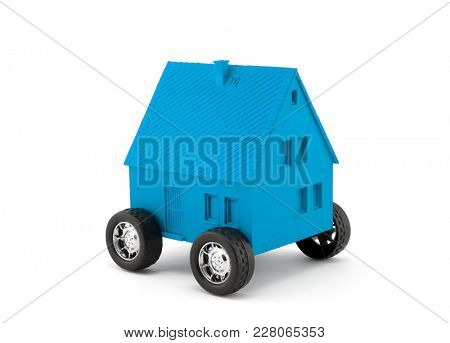 Blue house on wheels isolated on white with clipping path