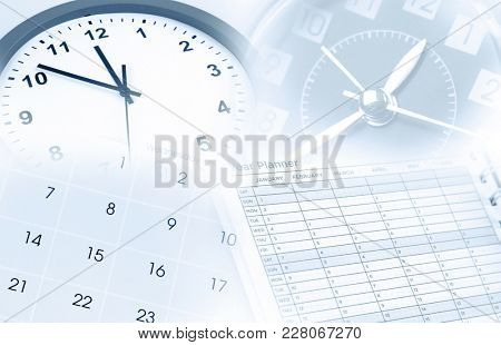 Clocks, calendar and year planner. Time management.