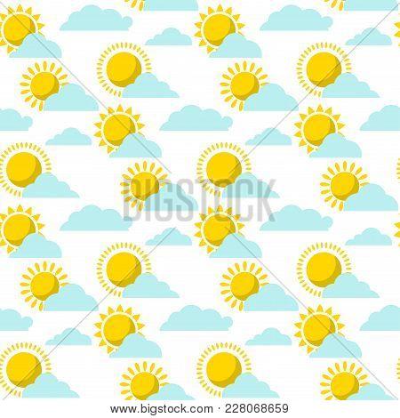 Clouds Sun Weather Vector Cloudy Summer Blue Sky Season Design Seamless Pattern Background Illustrat