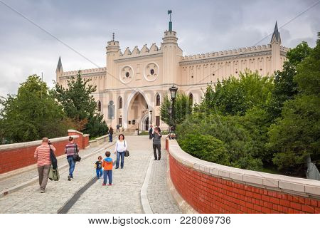 LUBLIN, POLAND - JULY 13, 2013: Royal castle in the city center of Lublin, Poland. Lublin is the largest Polish city east of the Vistula River with historic architecture and medieval royal castle.