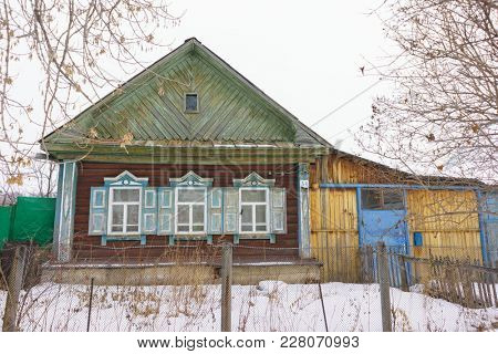 RUSSIA, YEKATERINBURG - FEBRUARY 11, 2018: House is Made of Old Timber, House of Logs, The House is Assembled from Wooden Logs