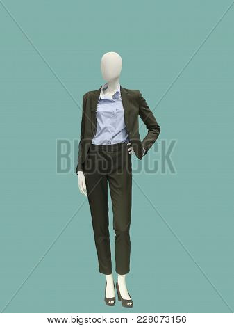 Full-length Female Mannequin Dressed In Fashionable Trouser Suit. No Brand Names Or Copyright Object