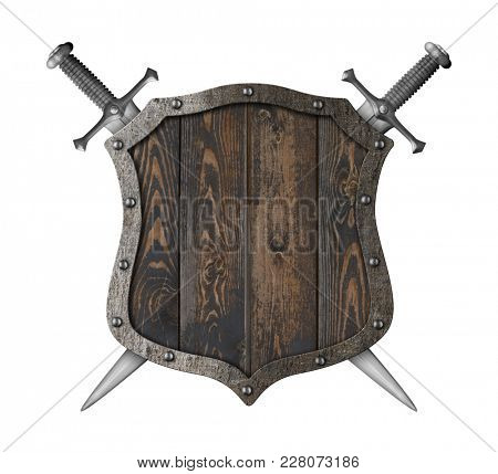 Wooden medieval heraldic shield with crossed swords 3d illustration