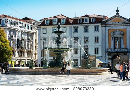 Lisbon, Portugal.- February 11, 2018: Old Town Lisbon on January 11, 2017. street view of typical houses in Lisbon, Portugal, Europe