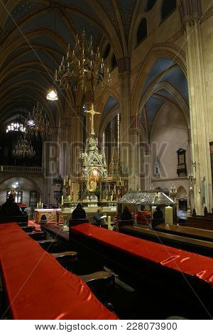 ZAGREB, CROATIA - AUGUST 16: Interior of Zagreb cathedral dedicated to Assumption of Virgin Mary, Croatia on August 16, 2017.