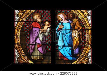 ZAGREB, CROATIA - SEPTEMBER 26: Presentation of Jesus in the Temple, stained glass in Zagreb cathedral dedicated to the Assumption of Mary in Zagreb on September 26, 2013.