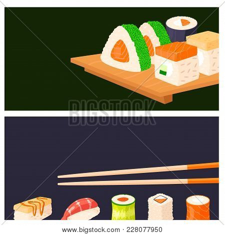 Sushi Rolls Vector Food Banner Japanese Gourmet Seafood Traditional Seaweed Fresh Raw Food Vector Il