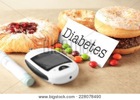 Digital glucometer, card with word