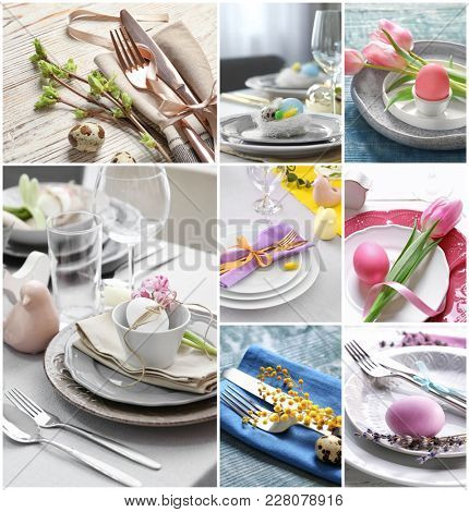 Collage with different ideas for festive Easter table setting